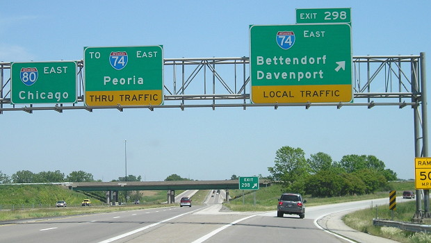 Iowa termini of Interstate 74