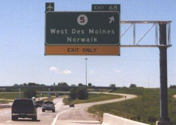 Highway Exit Sign Template North End of Iowa 5